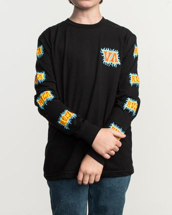 1 Boy's Crawling Long Sleeve T-Shirt Black B451TRCR RVCA