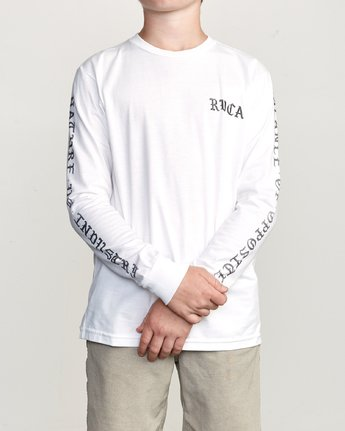 2 Boy's Suzuki Beware Long Sleeve T-Shirt White B451URBE RVCA