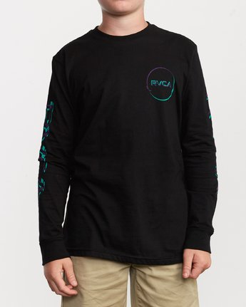 2 Boy's Big Glitch Long Sleeve T-Shirt Black B451VRBG RVCA
