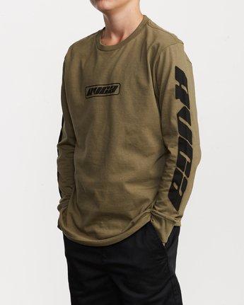 2 Boy's Warehouse Long Sleeve T-Shirt Green B451VRWA RVCA