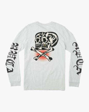 0 Boy's Bert Krak Double Skull Long Sleeve T-Shirt White B453QRDO RVCA