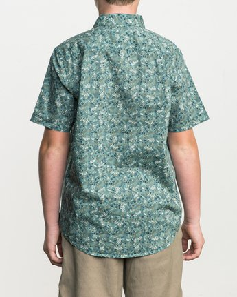 3 Boy's Makato Button-Up Shirt Green B502SRMA RVCA