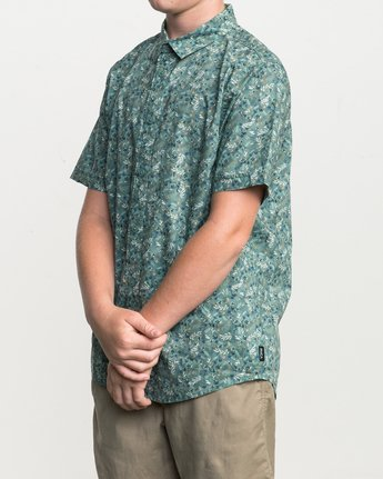 2 Boy's Makato Button-Up Shirt Green B502SRMA RVCA