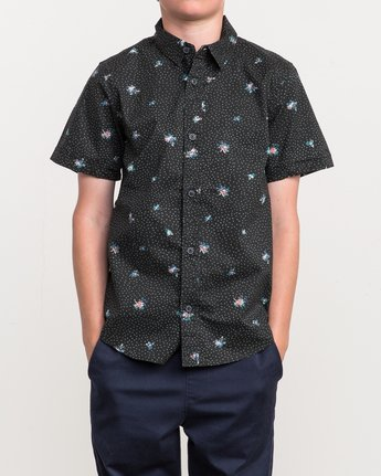 1 Boy's Scattered Printed Shirt Black B506QRSC RVCA