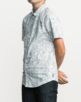 2 Boy's Grillo Button-Up Shirt White B507SRGR RVCA