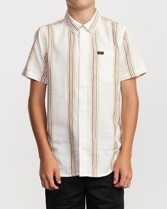 1 Boy's Split Stripe Shirt White B509VRSS RVCA