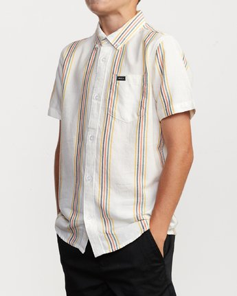 2 Boy's Split Stripe Shirt White B509VRSS RVCA