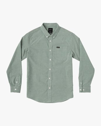 0 Boy's That'll Do Stretch Long Sleeve Shirt Green B526VRTL RVCA