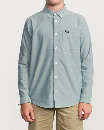 1 Boys That'll Do Stretch Long Sleeve Shirt Grey B526VRTL RVCA