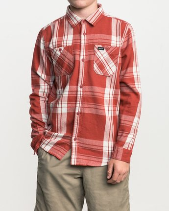1 Boy's Wanted Plaid Flannel Red B551SRWA RVCA