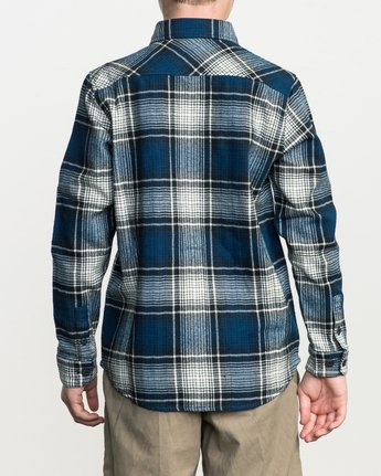 3 Boy's High Plains Plaid Flannel Blue B558SRHP RVCA