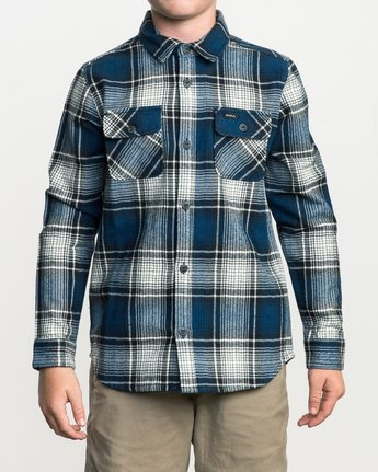 1 Boy's High Plains Plaid Flannel Blue B558SRHP RVCA