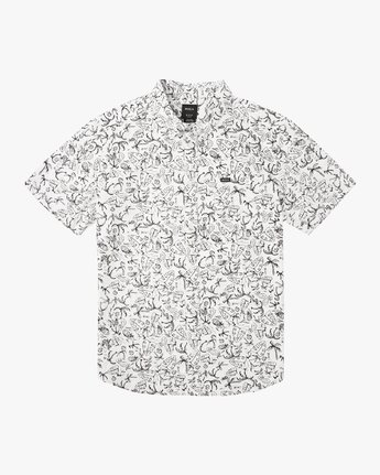 0 Boy's Sketchy Palms Button-Up Shirt White B572URSP RVCA