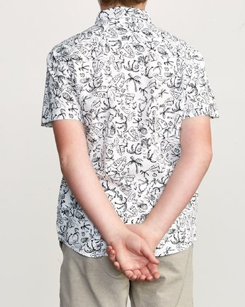 3 Boy's Sketchy Palms Button-Up Shirt White B572URSP RVCA