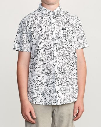 1 Boys Sketchy Palms Button-Up Shirt White B572URSP RVCA