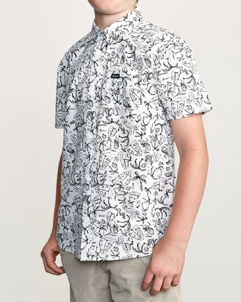 2 Boy's Sketchy Palms Button-Up Shirt White B572URSP RVCA