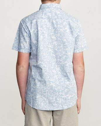3 Boy's Sketchy Palms Button-Up Shirt Blue B572URSP RVCA