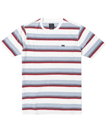 0 Boys VENTURA STRIPE SHORT SLEEVE T-SHIRT White B9023RVS RVCA