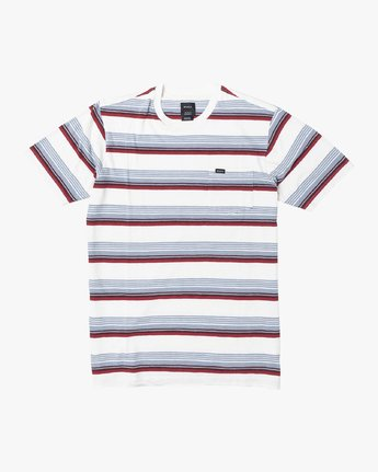 1 Boys VENTURA STRIPE SHORT SLEEVE T-SHIRT White B9023RVS RVCA