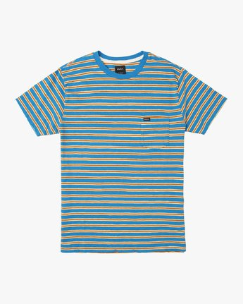 0 Boy's Vincent Stripe Pocket T-Shirt Blue B904URVS RVCA