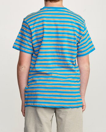 3 Boy's Vincent Stripe Pocket T-Shirt Blue B904URVS RVCA