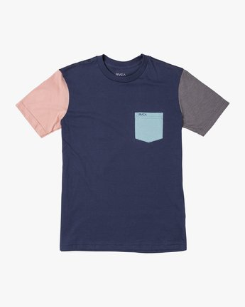 0 Boy's Ollie Color Block T-Shirt Blue B905UROL RVCA