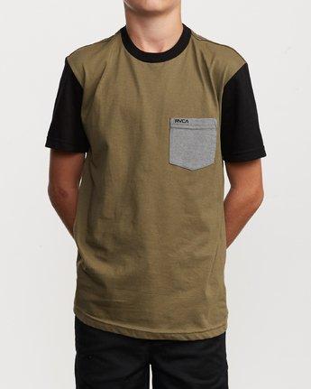 1 Boy's Ollie Color Block T-Shirt Green B905UROL RVCA
