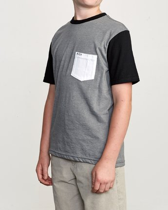 1 Boy's Ollie Color Block T-Shirt Grey B905UROL RVCA
