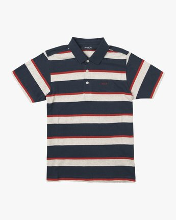 0 Boy's Fjords Stripe Polo Shirt Blue B906URFS RVCA