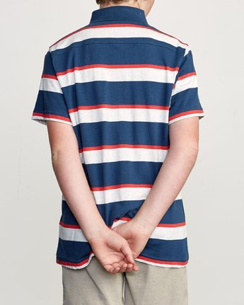 3 Boy's Fjords Stripe Polo Shirt Blue B906URFS RVCA