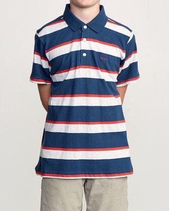 1 Boy's Fjords Stripe Polo Shirt Blue B906URFS RVCA