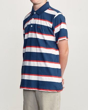 2 Boy's Fjords Stripe Polo Shirt Blue B906URFS RVCA
