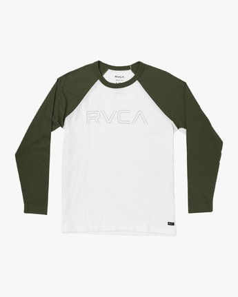 1 Boys Vale Raglan Long Sleeve T-Shirt White B911VRVA RVCA