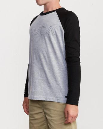 2 Boy's Vale Raglan Long Sleeve T-Shirt Grey B911VRVA RVCA