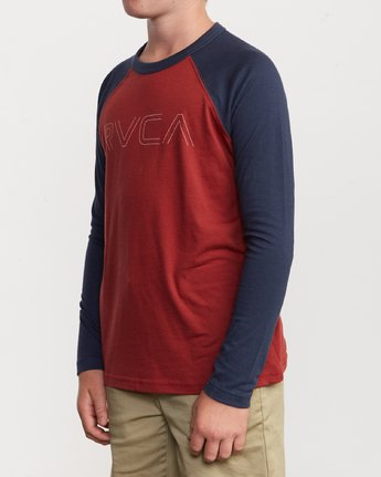 2 Boy's Vale Raglan Long Sleeve T-Shirt Brown B911VRVA RVCA