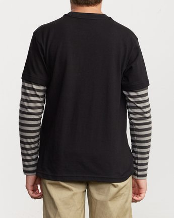 3 Boy's Adored Stripe 2fer Long Sleeve T-Shirt Black B912VRAD RVCA