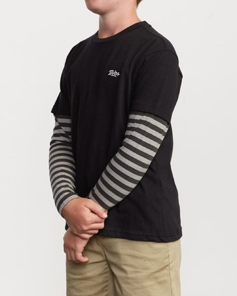 2 Boy's Adored Stripe 2fer Long Sleeve T-Shirt Black B912VRAD RVCA