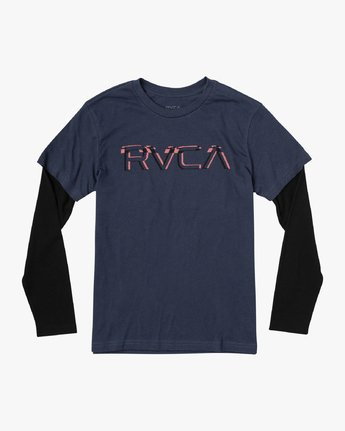 0 Boy's Logo Pack 2fer Long Sleeve T-Shirt Blue B914VRLO RVCA