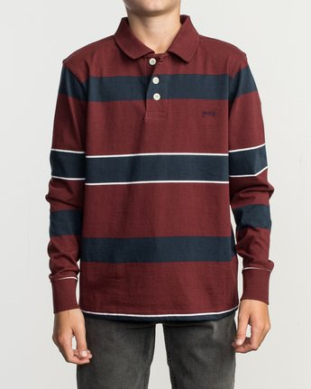 1 Boy's Darklands Striped Long Sleeve Polo Red B951TRDP RVCA