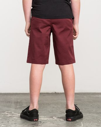 3 Boy's Weekday Stretch Shorts Red BC201WST RVCA