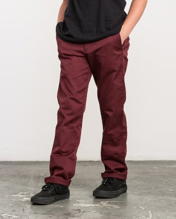 1 Boy's Weekday Stretch Pants Red BC301WDS RVCA