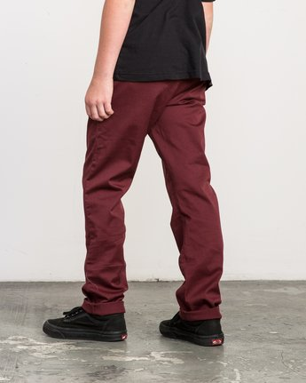 2 Boy's Weekday Stretch Pants Red BC301WDS RVCA