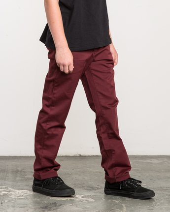 5 Boy's Weekday Stretch Pants Red BC301WDS RVCA