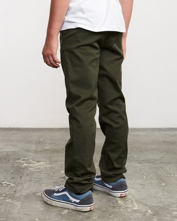 2 Boy's Weekday Stretch Pants Green BC301WDS RVCA