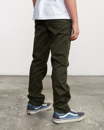 4 Boy's Weekday Stretch Pants Green BC301WDS RVCA