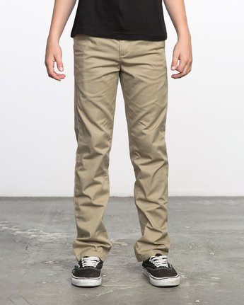 0 BOY'S WEEKDAY STRETCH straight fit PANT Beige BC301WDS RVCA