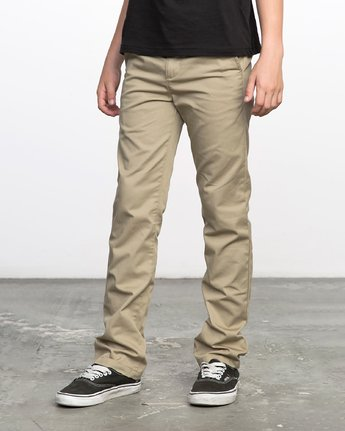 1 BOY'S WEEKDAY STRETCH straight fit PANT Beige BC301WDS RVCA