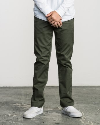 0 Boys WEEKDAY STRETCH straight fit PANT Green BC301WDS RVCA