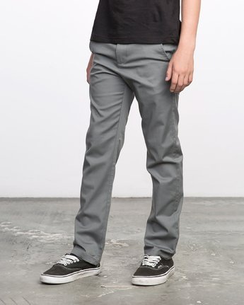 1 BOY'S WEEKDAY STRETCH straight fit PANT Grey BC301WDS RVCA