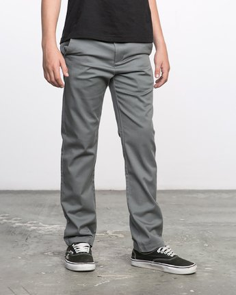 5 BOY'S WEEKDAY STRETCH straight fit PANT Grey BC301WDS RVCA